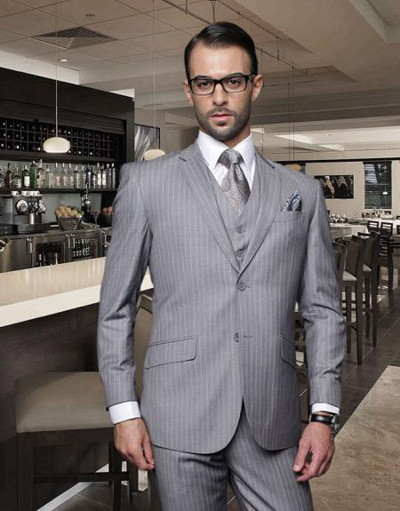 BWW2 Classic 3PC 2 Button Style Gray Pinstripe Suit