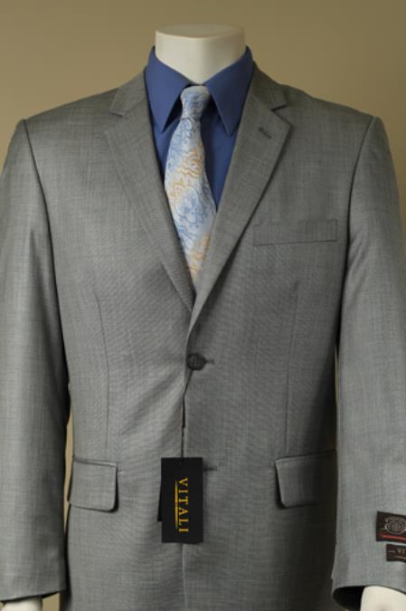 2 Button Style patterned Mini Weave Patterned Shiny Flashy Sharkskin Suit Gray