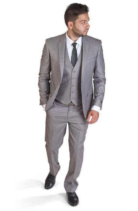 Product# SM401 Two Button Notch Lapel Slim narrow Style Fit 3 Piece Vested Silver Grey Suit Clearance Sale Online