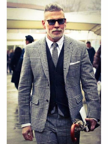 men's Two Button Single Breasted Houndstooth ~ Glen Check Designed Notch Lapel Grey Vested Suit