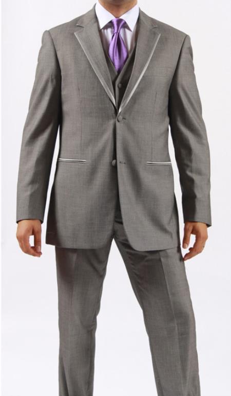 Product# MO9S Two Button Grey ~ Gray ManhatTan khaki Color Tuxedo