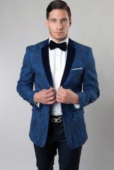 Men's Double Breasted Dark Navy Blue Dinner Jacket Casual Velvet Fabric Sport Coat Jacket Blazer Tuxedo