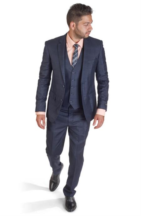 Product# SM409 Two Button Notch Lapel 3 Piece Suit Plaid Navy Blue Shade Slim narrow Style Fit Double Side Vests Clearance Sale Online