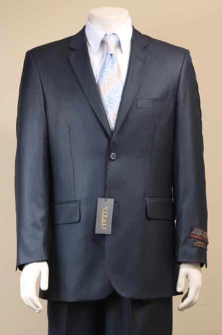 9J7D 2 Button Style Textured Mini Weave Patterned Shiny Sharkskin Navy Suit