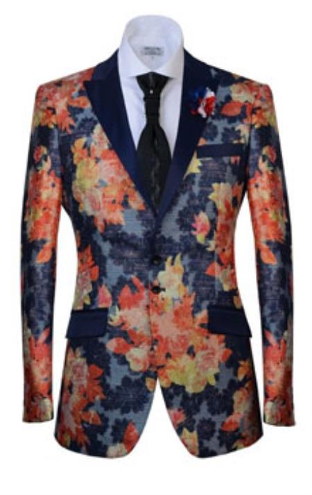 Button Peak Lapel Fashion