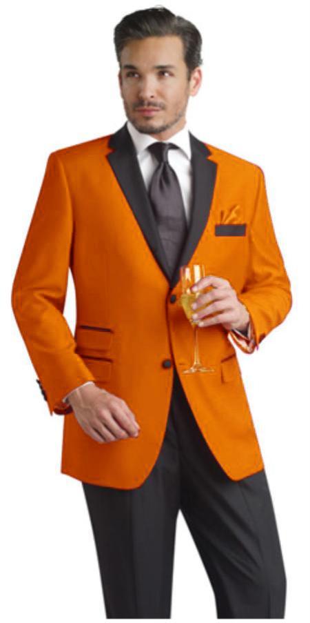 Orange Two Button Notch Party Suit & Tuxedo & Blazer Online Sale W/ Liquid Jet Black Lapel + Pants 7 days delivery
