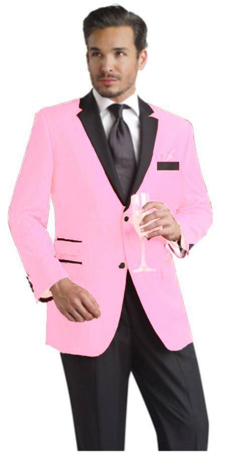 Product# PNK901 Light Pink Two Button Notch Party Suit & Tuxedo & Blazer Online Sale w/ Liquid Jet Black Lapel 7 days delivery