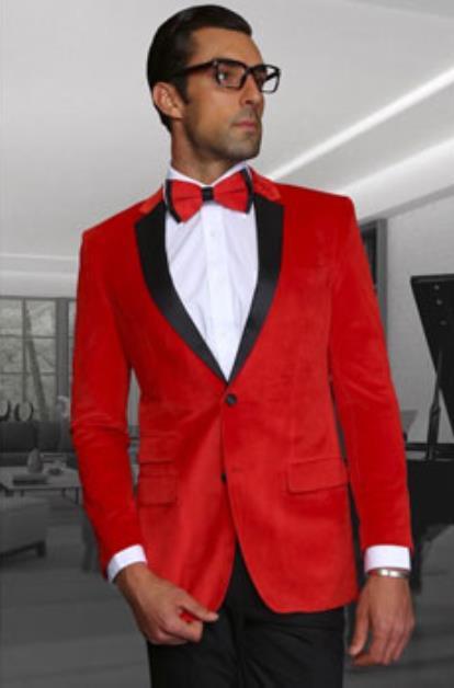 Men's Velvet Fabric Discounted Blazer Sportcoat Red Jacket on Sale