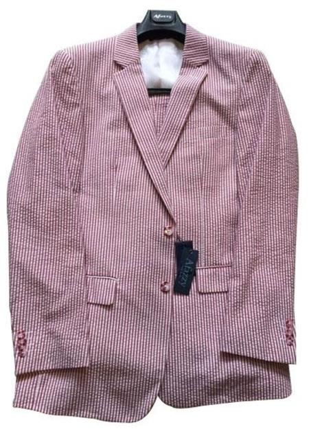 Seersucker Suit mens Modern Fit Striped Cotton Blend Cheap priced men's Seersucker Suit Sale Red/White Suit ( Jacket and Pants)  For Men
