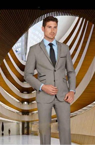 Men's 2 Button Notch Lapel Single Breasted Salt & Pepper Tuxedo Suit