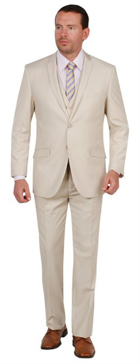 Product# AC-978 Suit Two Button Three Piece Slim narrow Style Fit Tan khaki Color