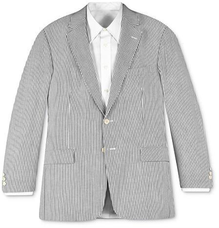 Sear Sucker Suit Seersucker Suit Two-button Summer Cheap priced men's Seersucker Suit Sale Fabric White & Black~Gry Stripe ~ Pinstripe Suit ( Jacket and Pants)  For Men