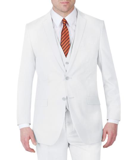 Suit Two Button Three Piece Slim narrow Style Fit White