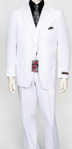 Men's 3 Piece Poly Poplin Fabric Matching Vest White Dress Athletic Cut Suits Classic Fit  Wth Pleated Pant