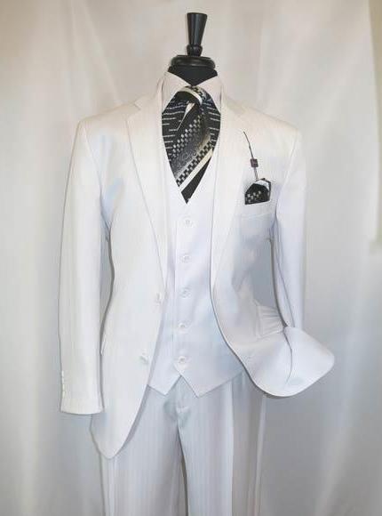 Product# JSM-3159 Men's Vinci Shadow Stripe Style 2 Buttons White Single Breasted Notch Lapel Vested Suit
