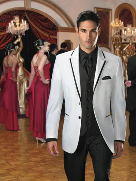 Product# 3BH4 2 Button Style White Suit or Tuxedo & Blazer Online Sale With Liquid Jet Black Edge Trim