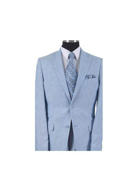 Men's 2 Piece Linen Causal Outfits Summer Suit or Blazer Online Sale or Sportcoat 2 Button Style With Elbow Patch sleeve Light Blue / Beach Wedding Attire For Groom