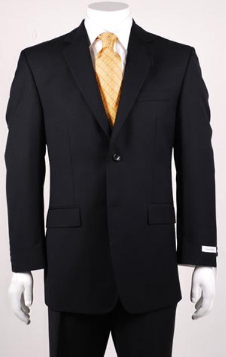 Product# KA1195 Liquid Jet Black 2 Button Style Big and Tall Size Blazer Online Sale 56 to 80 Vented without pleat flat front Pants Wool Fabric