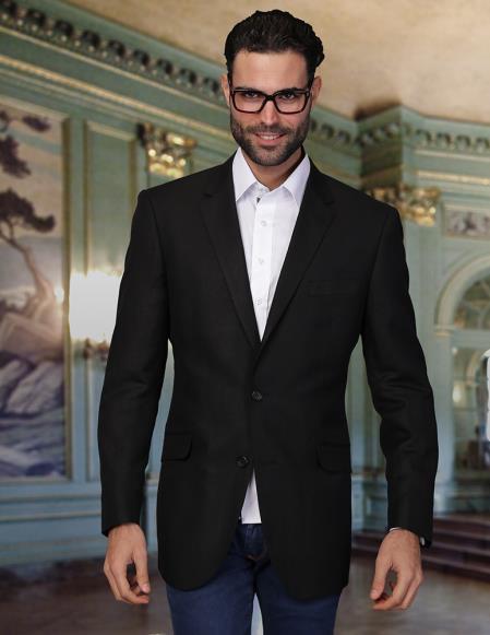 Product# PN_C66 2 Button Style Cool Linen Fabric Jacket Summer Blazer Online Sale Sport coat Liquid Jet Black