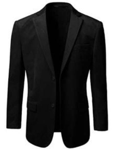 Velvet Blazer - Mens Velvet Jacket American Regular-Fit 2 Button Style Velvet Blazer Online Sale Liquid Jet Black