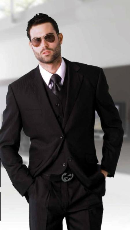 KA2387 Liquid Jet Black Tone on Tone 3 Piece 2 Button Style single Pleated Slacks pants three piece suit