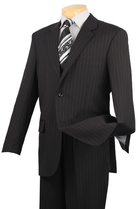 Notch Collar Pleated Slacks Pants Executive Classic Pin Stripe ~ Pinstripe Liquid Jet Black Suit 2RS-16