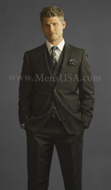 2 Button Style 3 Piece Liquid Jet Black Pinstripe Fitted affordable suit Online Sale