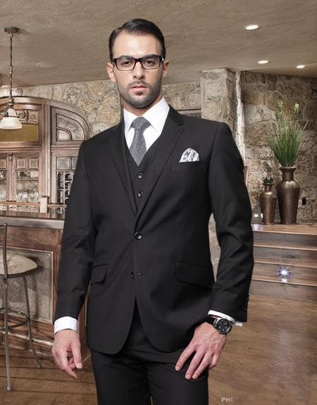 Product# DX5467 Nice 2 Button Style Solid Color Liquid Jet Black Suit with a Vest 3 Piece Tapered Slim narrow Style Fitted Flat Front Pants Wool Fabric
