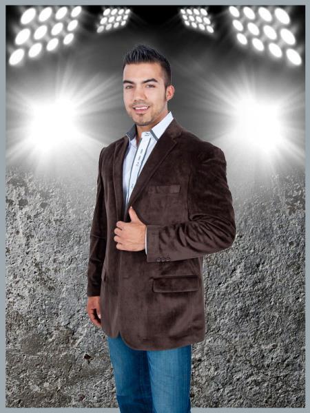 Product# KKN1 Blazer Online Sale Coat Stylish 2 Button Style Sport Jacket brown color shade Discounted Affordable Velvet ~ Velour Sport coat Blazer Online Sale