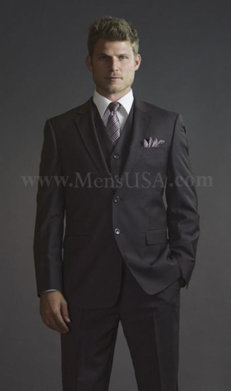 Product# QDA112 2 Button Style 3 Piece brown color shade Pinstripe Fitted affordable suit Online Sale
