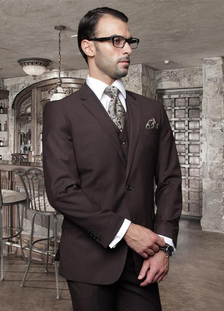 Nice 2 Button Style Solid Color brown color shade Suit with a Vest 3 Piece Tapered Slim narrow Style Fitted Flat Front Pants Wool Fabric