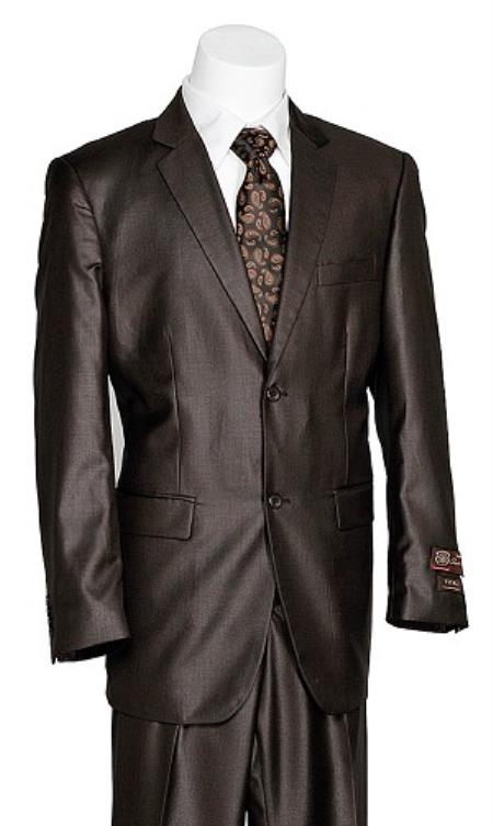 Product# KA7426 Vitali 2 Button Style brown color shade Shark Skin Suit