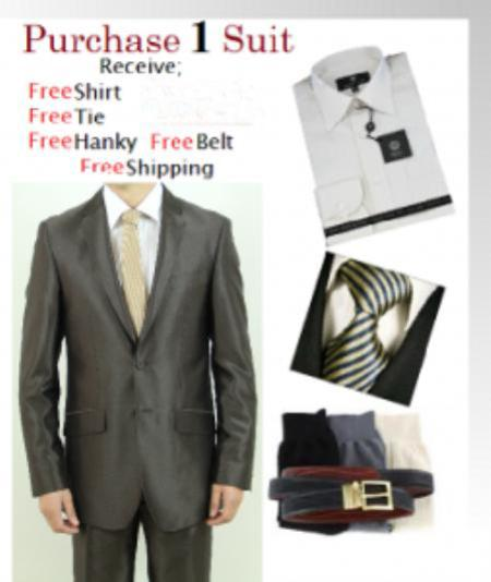 Product# VT7856 Two Button brown color shade Slim narrow Style Fit Teakwave Suit-Dress Shirt, Free Tie & Hankie Package