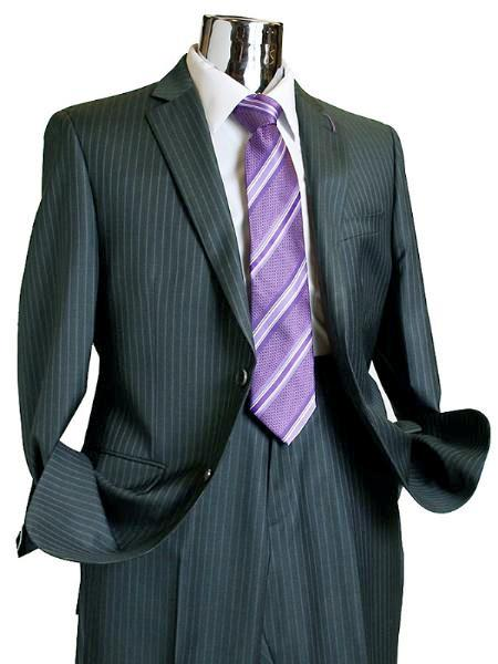 Product# FP278 Suit separate online 2 Button Style 100% Wool Fabric Suit Dark Grey Masculine color Pinstripe ~ Stripe Discounted Online Sale Only