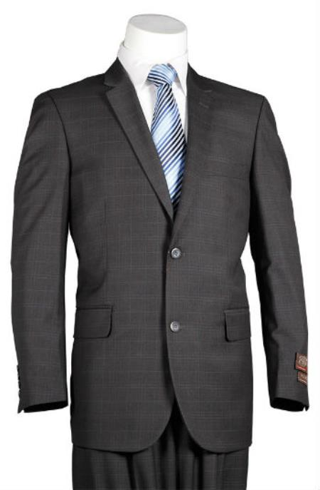Mens Plaid Suit Fitted Trim Fit Windowpane 2 Button Style Slim narrow Style Cut Suit Dark Grey Masculine color