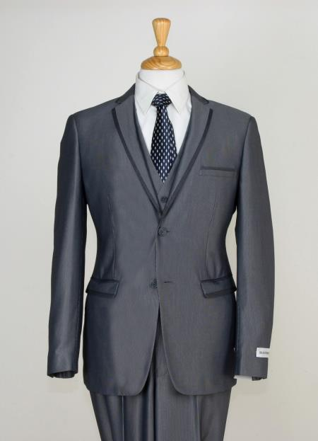 Product# NM2A3 3 Piece Slim narrow Style Cut Suit - Contrast Trim & Adjustable Waist Gray