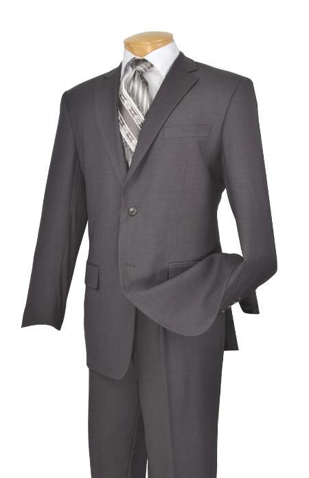 D62T_2TR-GRY723 Poly-rayon Executive Pure Solid Gray Athletic Cut Suits Classic Fit  Notch Collar Pleated Slacks Pants