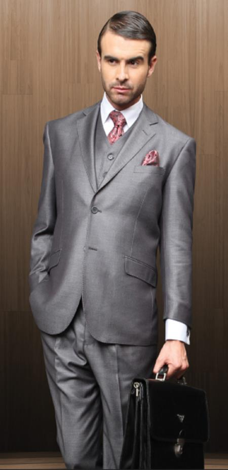 Classic 3pc 2 Button Style Gray Athletic Cut Suits Classic Fit  Superior Fabric 150's 1 Pleat Pants Italian Fabric