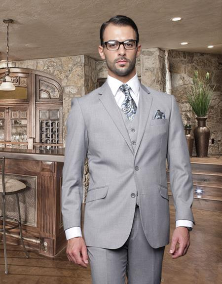 2 Button Style Light Gray ~ Grey Suit With A Vest Superior Fabric 150'S Italian Wool Fabric Pick Stitched Lapel Slanted Pocket