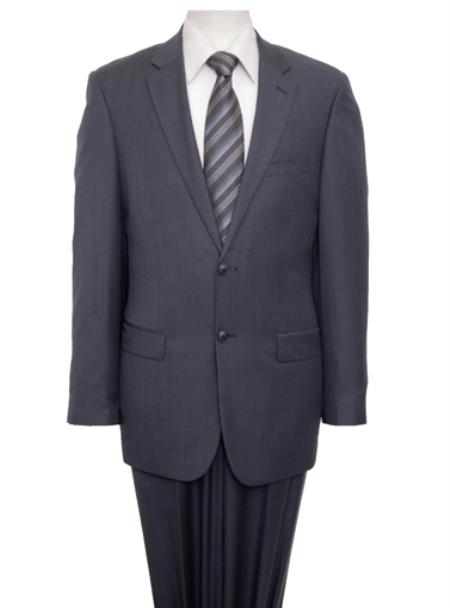 Product# KA5952 Reg Price $795 ZeGarie Authentic 100% Wool Fabric Suit 2 Button Style Side Vent Jacket Flat Front Pants Wool Fabric Classic Gray