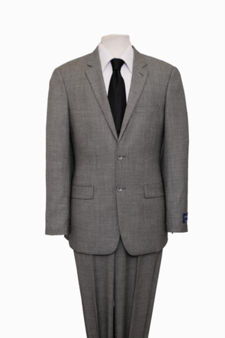 Product# KP5 Reg Price $795 ZeGarie Authentic 100% Wool Fabric Suit 2 Button Style Side Vent Jacket Flat Front Pants Glen Plaid Gray