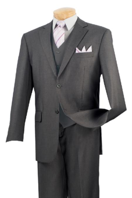 Product# KA4967 Solid Color 2 Button Style No Pleat 3 Piece Big And Tall men's Suits – Dark Gray