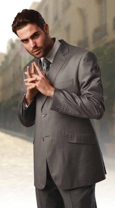 Product# KA6299 Classic 3 Piece Superior Fabric 150s Extra Fine Italian Fabric 2 Button Style three piece suit Grey