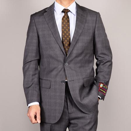 Product# GRP13 Side Vented Jacket & Flat Front Pants Grey Plaid Two-Button Suit