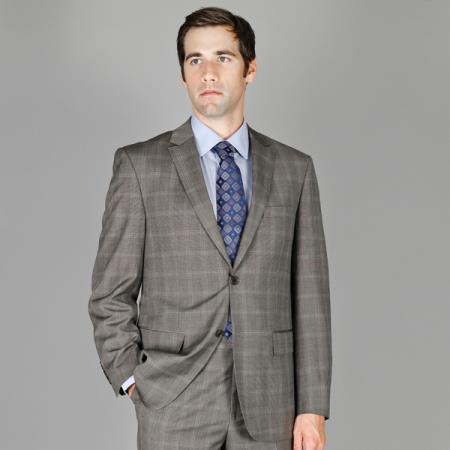 Grey Windowpane 2-Button Wool