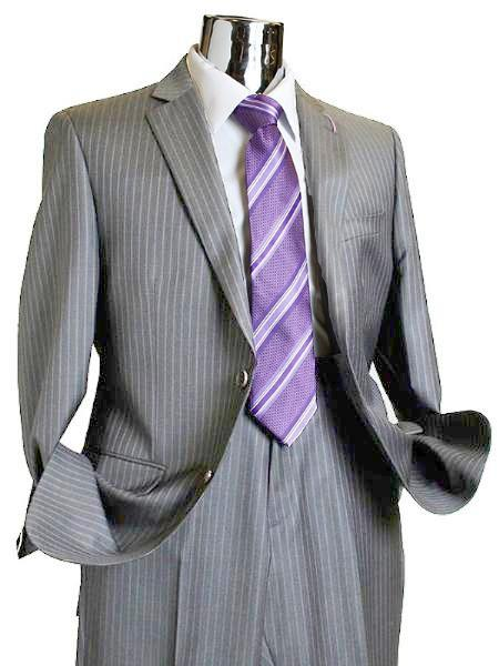 Suit separate online 2 Button Style 100% Wool Fabric Suit Medium Grey Pinstripe ~ Stripe Discounted Online Sale Only