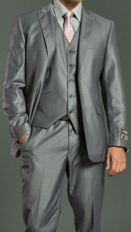 Two Button Vested Shiny Flashy Metallic Light Grey Slim narrow Style Fit Suit