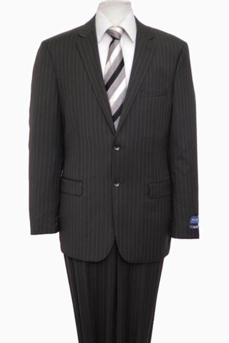Product# KA5112 Reg Price $795 ZeGarie Authentic 100% Wool Fabric Suit 2 Button Style Side Vent Jacket Flat Front Pants Pinstripe Navy