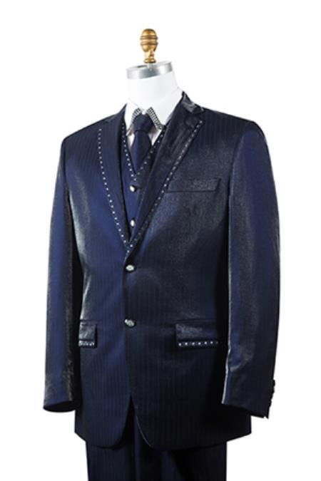 Unique 2 Button Style Tuxedo Trimmed Pleated Slacks Pants Vested 3 Piece Athletic Cut 1940s men's Suits Style Classic Fit  for Online Navy