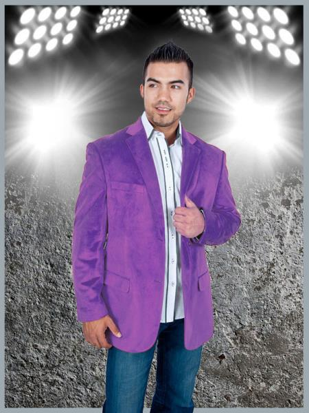 Product# PAF8 Stylish 2 Button Style Sport Jacket Purple color shade Discounted Affordable Velvet ~ Velour Sport coat Blazer Online Sale